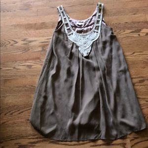 Boston Proper taupe beaded chiffon dress